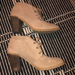 Nude colored suede boogies
